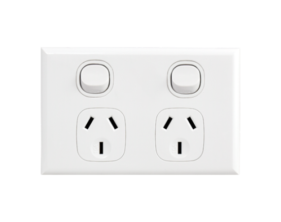 Home Double Horizontal Socket Outlet White