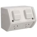 Weatherproof Double IP53 Outlet Grey Heavy Duty